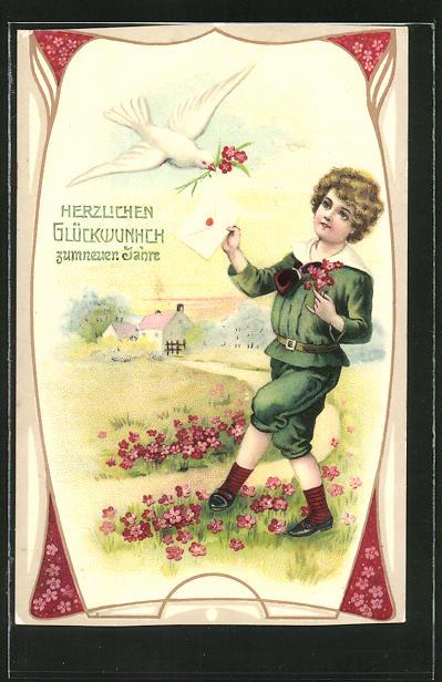 AK Neujahr, Junge mit Brief und Taube mit Blumen im Schnabel