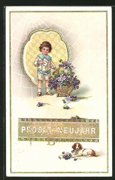 AK Prosit Neujahr, Kind mit Brief und Blumenkorb mit Veilchen und Hund