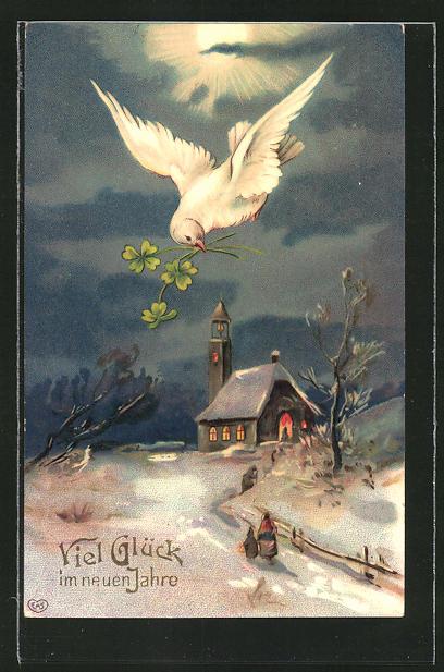 AK Neujahr, Taube mit Glücksklee im Schnabel über verschneiter Kirche