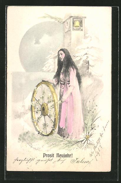 AK Prosit Neujahr, Junge Frau mit Wagenrad und Uhr mit Glocke