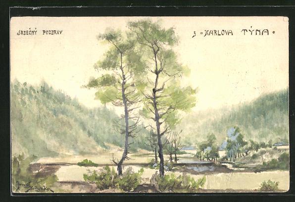 Künstler-AK Handgemalt: Karlstein, Blick in ein Tal mit bewaldeten Hängen