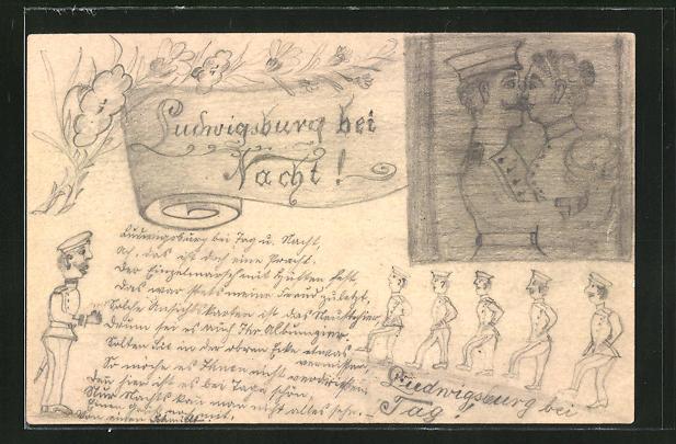 Künstler-AK Handgemalt: Ludwigsburg, Ludwigsburg bei Tag und Nacht, Soldat in der Kaserne und beim Kuss, Ganzsache
