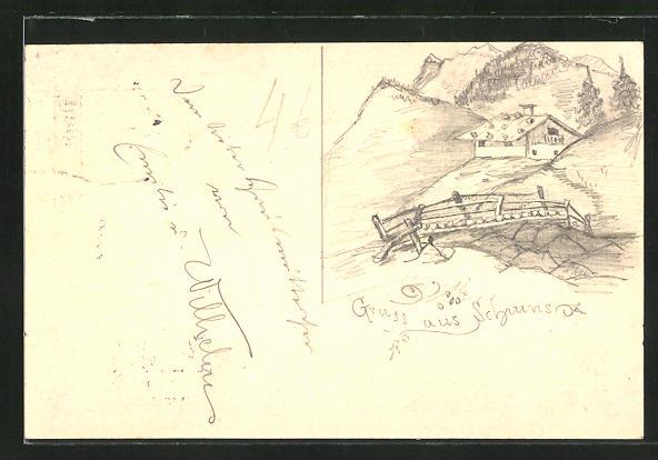 Künstler-AK Handgemalt: Schruns, Blick von einer Holzbrücke auf eine Bergalm, Ganzsache