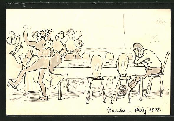Künstler-AK Handgemalt: Kniebis, Tanzende und einsamer Mann am Tisch, Ganzsache