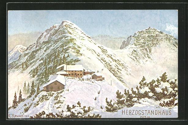 Künstler-AK Rudolf Reschreiter: Herzogstandhaus im Schnee