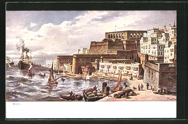Künstler-AK Friedrich Perlberg: Malta, Hafen mit Dampfer