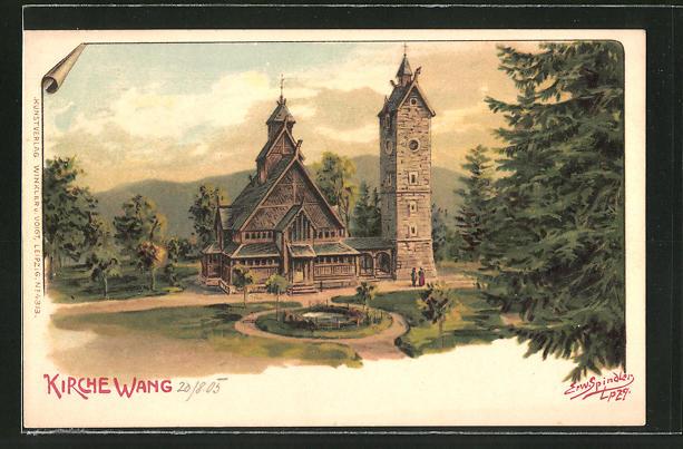 Künstler-AK Erwin Spindler: Brückenberg, Kirche Wang