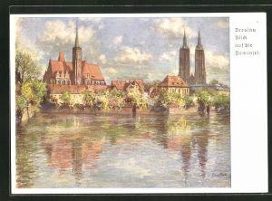 Künstler-AK Breslau, Blick auf die Dominsel, 12. Deutsches Sängerbundesfest 1937