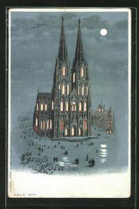 Mondschein-Lithographie Köln, Dom, Halt gegen das Licht