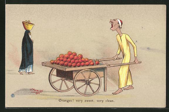 Künstler-AK sign. V. Manavian: Oranges! very sweet, very clean, Strassenhändler preist Apfelsinen an