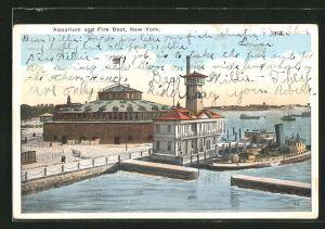 AK New York, NY, Aquarium and Fire Boat, Feuerlöschschiff