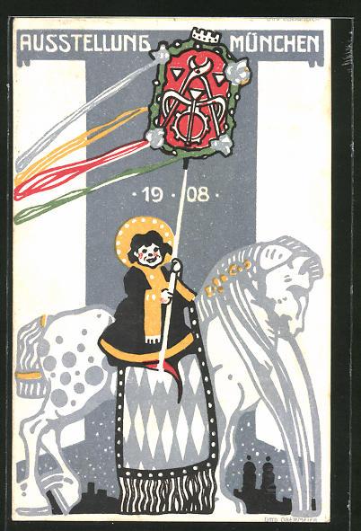 Künstler-AK Otto Obermeier: München, Ausstellung 1908, Münchener Kindl mit Pferd