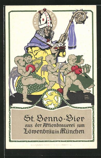 Künstler-AK Otto Obermeier: München, St. Benno-Bier aus der Aktienbrauerei Löwenbräu