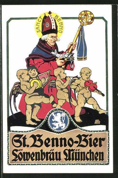 Künstler-AK Otto Obermeier: München, St. Benno-Bier, Löwenbräu