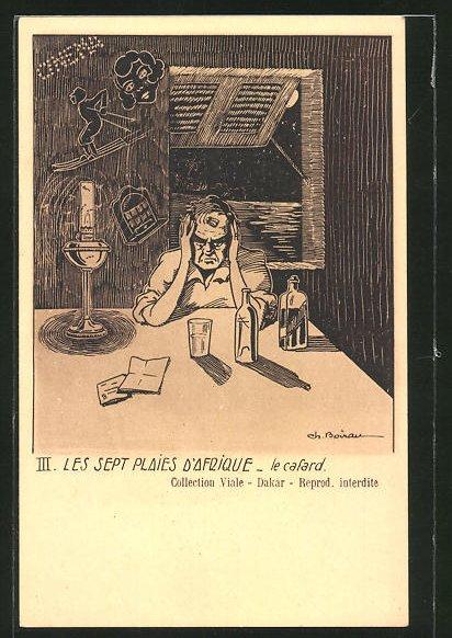Künstler-AK sign.Ch. Boirau: III: Les Sept plaies d'Afrique, le cafard, Soldat in einer Bar