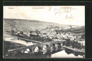 AK Bingen, Ortsansicht mit Blick auf die Drususbrücke und Nationaldenkmal