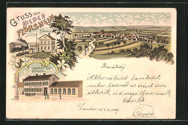 Lithographie Nieder Flörsheim, Gasthof zum Kirschen, Gesamtansicht aus der Vogelschau