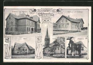 AK Wahrenholz, Gasthaus Matthies, Gasthaus zum Bahnhof, Schule, Pfarrhaus