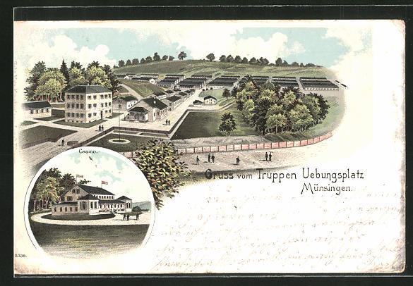 Lithographie Münsingen, Truppenübungsplatz, Casino