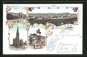 Lithographie Gera, Kaiser Wilhelm-Denkmal, Bahnhof, Johanniskirche, Totalansicht
