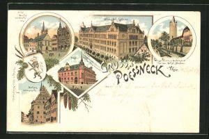 Lithographie Poessneck i. Thür., Neues Schulgebäude, Kirche vom Markt, Seitenansicht v. Rathaus, Post, Weisser Thurm