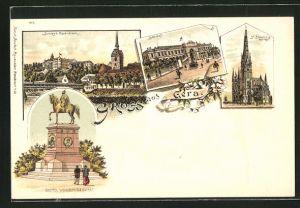 Lithographie Gera, Schloss Osterstein, Bahnhof, St. Johanniskirche, Kaiser Wilhelm Denkmal