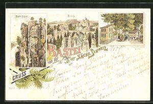 Lithographie Bastei / Sächsische Schweiz, Blick auf Basteifelsen, Brücke und Hotel