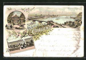 Lithographie Koblenz, Ortspartie mit Brücke aus der Vogelschau, Schloss und Trinkhalle mit Rheinanlagen