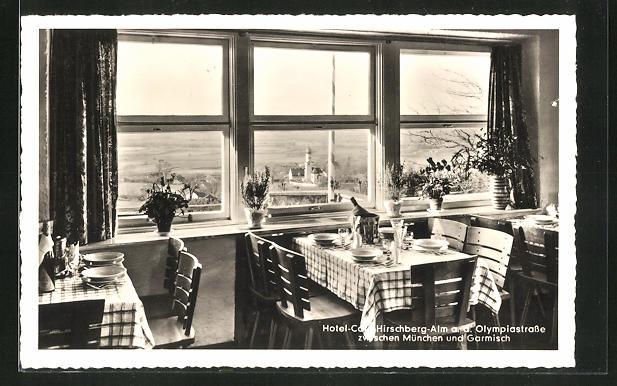 AK Pähl, Hotel-Gasthof Hirschberg-Alm, Blick aus dem Speiseraum