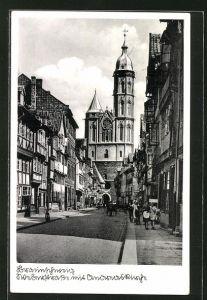 AK Braunschweig, Weberstrasse mit Andreaskirche