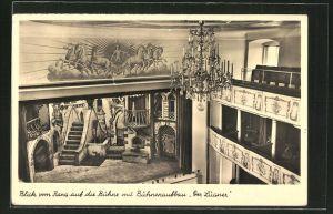 AK Celle, das alte Herzogsschloss, Blick vom Rang auf die Bühne mit Bühnenaufbau