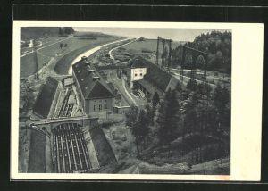 AK Kochel, Walchenseewerk, Gesamtansicht des Kraftwerkes gegen Norden