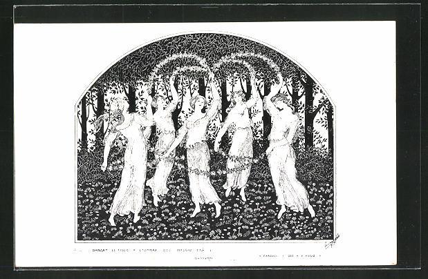 Künstler-AK sign.Leonella Nasi: Danza, Frauen beim Tanz mit Blumen, Jugendstil