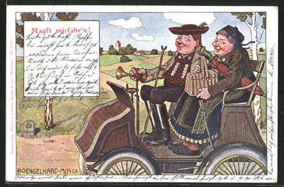 Künstler-AK P. O. Engelhard (P.O.E.): Magst mitfahr'n!, älteres Ehepaar fährt in einem Auto