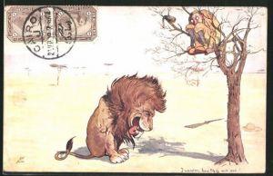 Künstler-AK Rudolf Pick: I wonder, how this will end!, Mann versteckt sich vor einem Löwen auf einem Baum