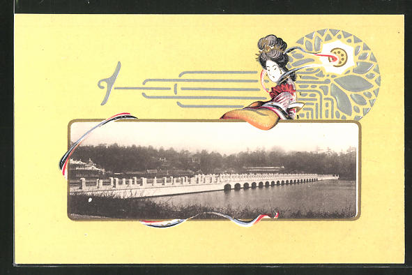 Künstler-AK Japanische Kunst, Geisha, Brücke