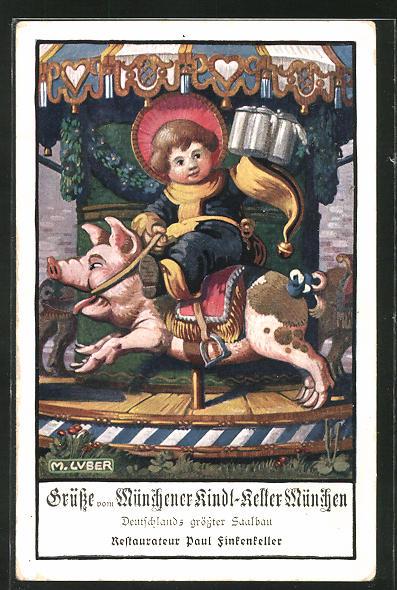 Künstler-AK Max Luber: München, Gasthof Münchener Kindl-Keller, Münchner Kindl reitet auf einem Schwein