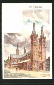 Künstler-AK Karl Mutter: Würzburg, Blick auf den Dom