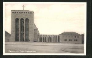 AK Frankfurt-Bockenheim, Strassenpartie an der Frauen-Friedenskirche