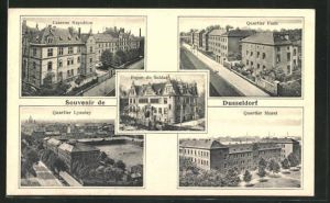 AK Düsseldorf, Kaserne Napoleon, Quartier Foch, Quartier Lyautey, Quartier Murat, Foyer du Soldat