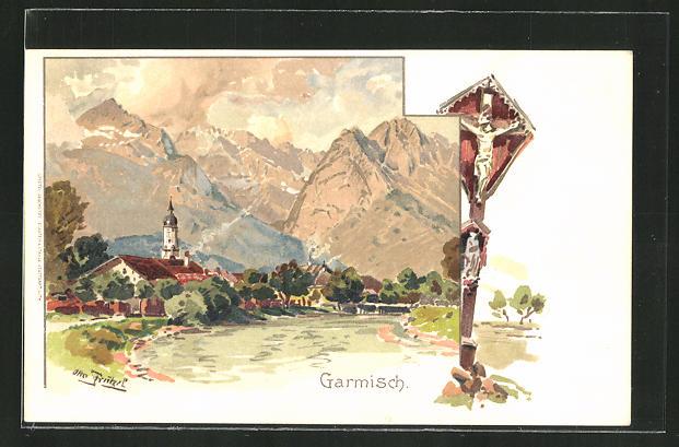 Künstler-AK Otto Strützel: Garmisch, Ortsansicht mit Waldandacht