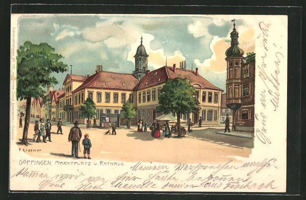 Künstler-AK P. Kraemer: Göppingen, Marktplatz und Rathaus
