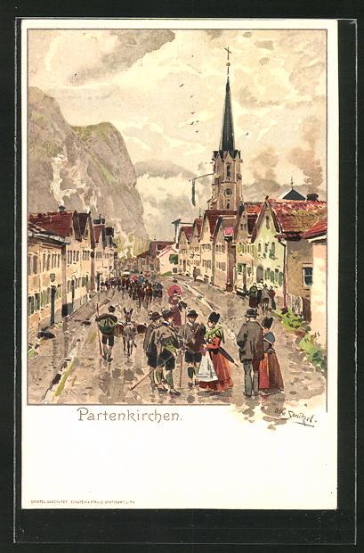 Künstler-Lithographie Otto Strützel: Partenkirchen, Ortspartie mit Kirche