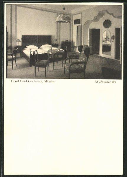 AK München, Grand Hotel Continental, Schlafzimmer 103 Nr. 8270894 ...