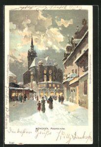 Lithographie Blick auf die Peterskirche im Winter