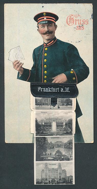 Leporello-AK Frankfurt, Briefträger mit Ansichten in der Posttasche, Römer, Festhalle, Opernhaus