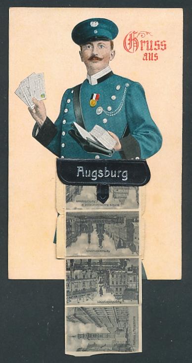 Leporello-AK Augsburg, Briefträger mit Ansichten in der Posttasche, Dom, Herkulesbrunnen