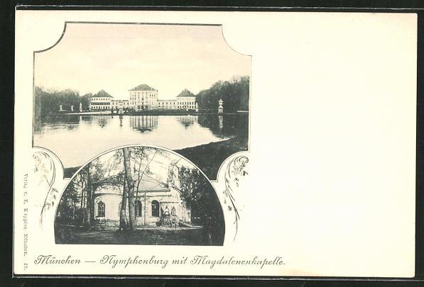 AK München-Nymphenburg, Nymphenburg mit Magdalenenkapelle