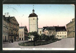 Goldfenster-AK Borna, Strasse am Dinterplatz mit Reichtstor und mit leuchtenden Fenstern
