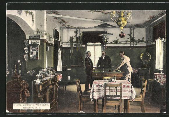 AK Nünchritz, Billardtisch in Herm. Schmidt's Weinstube